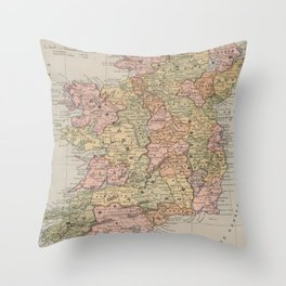 Vintage Map of Ireland (1883) Throw Pillow