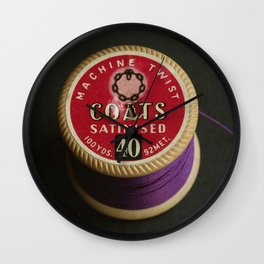 Purple Vintage Cotton Reel Wall Clock