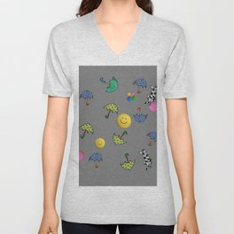 cats and smiled faces pattern Unisex V-Neck