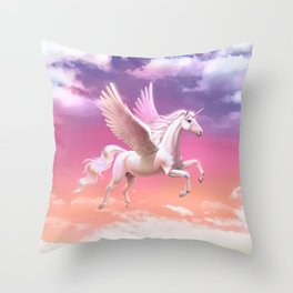 Flying unicorn at sunset Throw Pillow