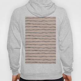 Minimalist Stripes Navy Gray on Blush Pink Hoody
