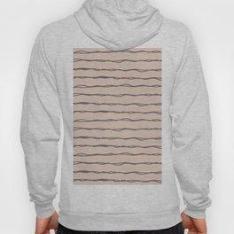 Minimalist Stripes Navy Gray on Blush Pink Hoody