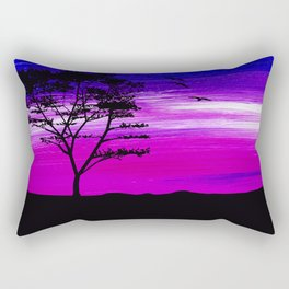 Black tree with birds silhouette Rectangular Pillow