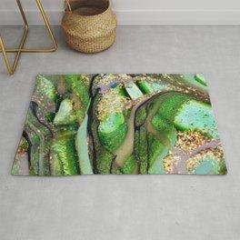 Kelly Green Aquamarine and Gold Acrylic Painting Rug