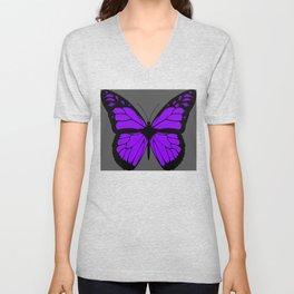 Purple Butterfly Art With Grey Background Unisex V-Neck