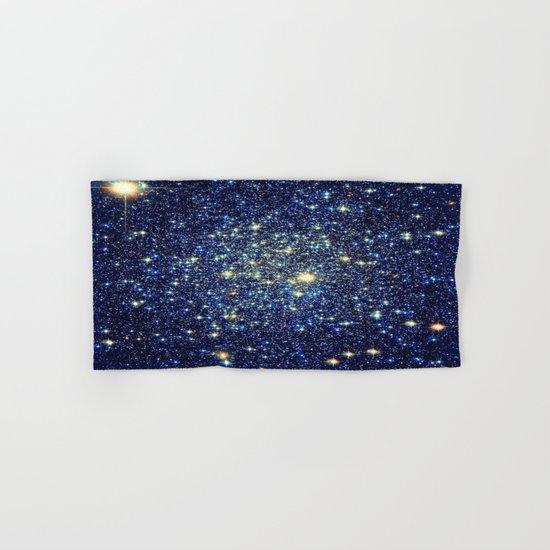 galaxY Stars : Midnight Blue & Gold Hand & Bath Towel