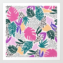 Tropical Colourful Collage Pattern Art Print