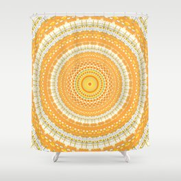 Marigold Orange Mandala Design Shower Curtain
