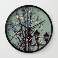twilight Wall Clocks featuring Winter Lights by elle moss