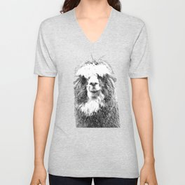 Black and White Alpaca Unisex V-Neck