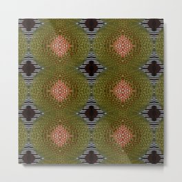 Green Brown Orange Pattern, Xmas Gift, Christmas Gift Metal Print
