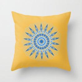 Gold Blue Aztec Mandala Design Throw Pillow