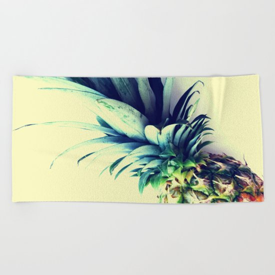 Tall pineapple Beach Towel