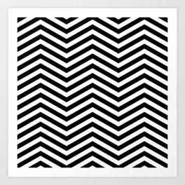 Chevron black white Art Print