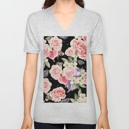 Pink Roses, White Jasmine, Monarch Butterflies, Pomegranate Heart Shapes on Black Unisex V-Neck
