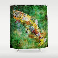whisky Shower Curtains featuring Fish  by Saundra Myles