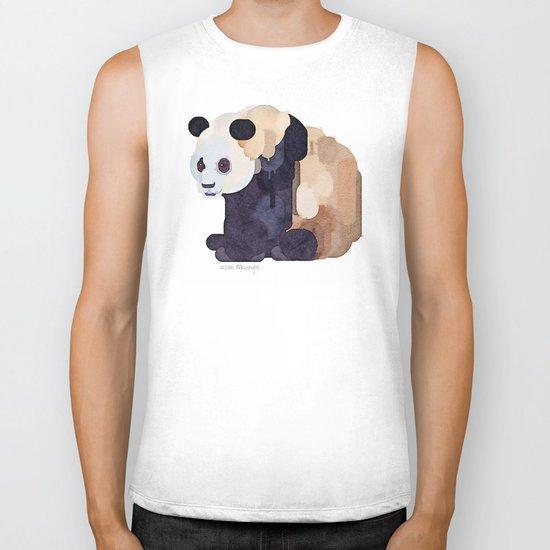 Ice Cream Panda Bear #2 Watercolor Painting Biker Tank