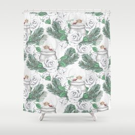 Snow globes and roses Shower Curtain