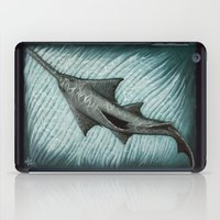 biology iPad Cases featuring Sawfish - Acrylic Painting by Amber Marine