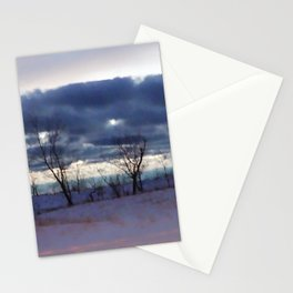 Winter night scene Stationery Cards