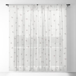 Bubble Gum White Tiger Cub Sheer Curtain