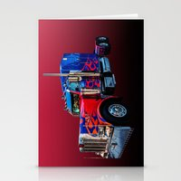 optimus prime Stationery Cards featuring Optimus Prime Red by Steve Purnell