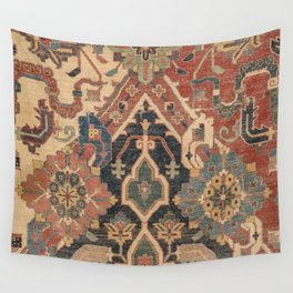 Geometric Leaves I // 18th Century Distressed Red Blue Green Colorful Ornate Accent Rug Pattern Wall Tapestry