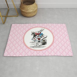 Alice in Wonderland | The Herald of the Court of Hearts | White Rabbit | Pink Damask Pattern | Rug