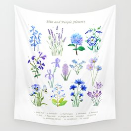 blue and purple flower collection watercolor Wall Tapestry