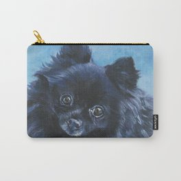 black POMERANIAN dog art portrait from an original painting by L.A.Shepard Carry-All Pouch