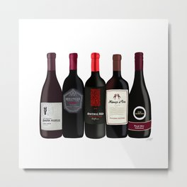 Red Wine Bottles Metal Print