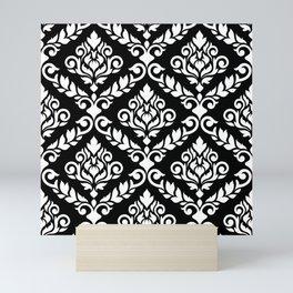 Prima Damask Pattern White on Black Mini Art Print