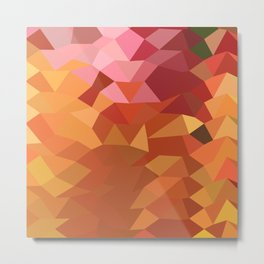 Dark Tangerine Abstract Low Polygon Background Metal Print