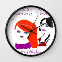 girls Wall Clocks featuring Girls by jt7art&design