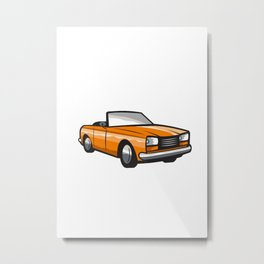 Vintage Cabriolet Top-Down Car Isolated Retro Metal Print