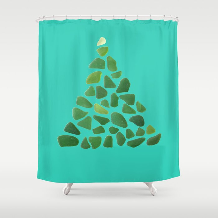 Green Sea Glass Tree On Turquoise Seaglass Christmas Shower Curtain