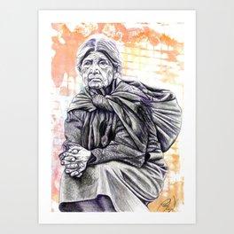 Old Lady Sitting Art Print