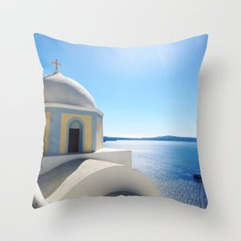 Overlooking the Sea from cliffside in Santorini, Greece Throw Pillow