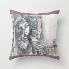 Cat metamorphosed Throw Pillow