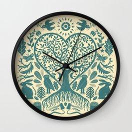 Rustic Early American Tree Of Life Woodcut Wall Clock