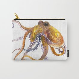 Octopus, orange red gold underwater scene octopus lover design, beach Carry-All Pouch