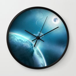 Astronaut Floating in Space Wall Clock