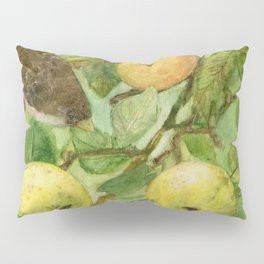 Bird in Apple Tree with Apples - Watercolor on Panel - Laurie Rohner Pillow Sham