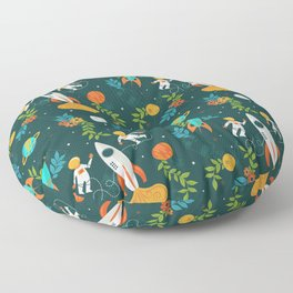 Race to the Moon with Flower Power Floor Pillow