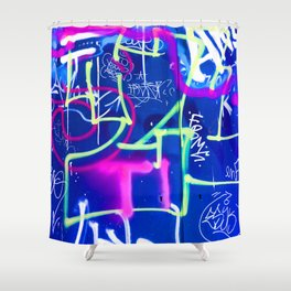 Blue Mood with Pink Language Shower Curtain