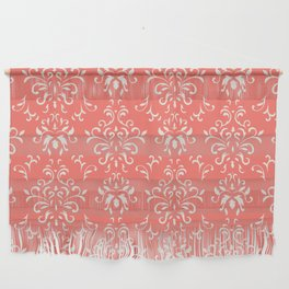 Decorative Pattern in Living Coral and White Wall Hanging