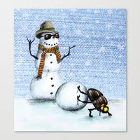 snowman Canvas Prints featuring Snowman by Anna Shell