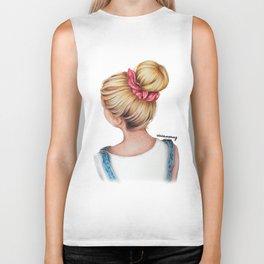 Blonde Bun Hairstyle Girl Drawing Biker Tank