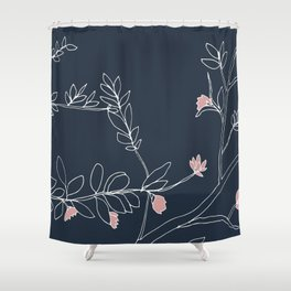 Flora, White and Pink on Navy Blue Shower Curtain