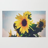 sunflower Area & Throw Rugs featuring sunflower by Sylvia Cook Photography